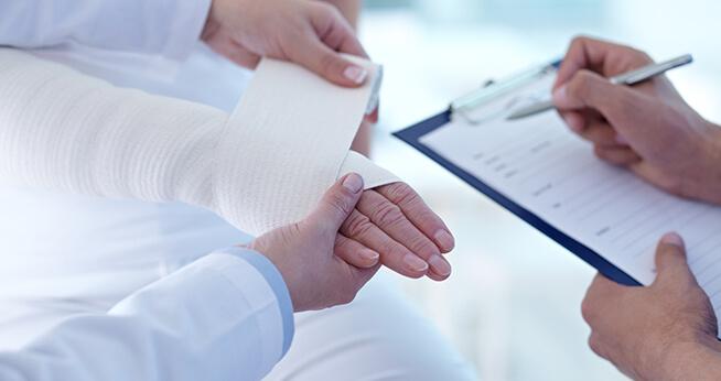 Burn Injury Bandage at Hospital