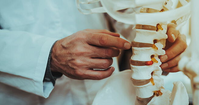 Doctor looking at a spinal injury